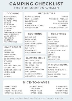 Kayak Tips Packing Lists A modern guide to camping printable packing list. - A modern camping checklist of items you don't want to forget for any memorable glamping trip.