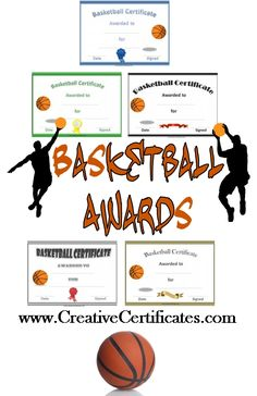 A variety of free printable basketball certificate templates. Many more free sports awards and award certificates on this site. Basketball Awards, Free Basketball, Basketball Tricks, Basketball Practice, Basketball Rules, Basketball Party, Sports Awards, Basketball Gifts, Basketball Coach