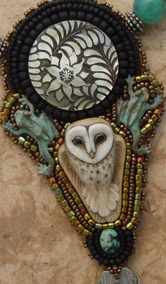 Jewelry Pagan Wicca Witch:  Beaded Owl Necklace.