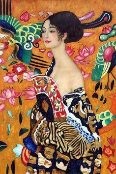 Modern wall art Signora con Ventaglio by Gustav Klimt paintings reproduction High Quality Hand painted Gustav Klimt, Art Klimt, Paintings Famous, Famous Art, Portrait Art, Art Reproductions, Art Inspo, Art History, Art Drawings