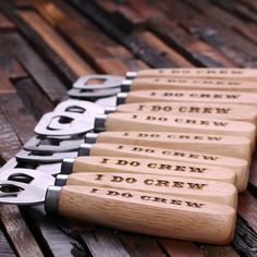 Personalized wooden bottle openers for your groomsmen.
