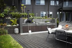 outdoor entertaining, outdoor kitchen, pizza oven, barbeque, landscaping, garden,