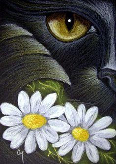 """Black Cat Mercat and April Daisy Flowers"" par Cyra R. Fantasy Paintings, Animal Paintings, Crazy Cat Lady, Crazy Cats, Black Cat Art, Black Cats, Image Chat, Gatos Cats, Artist Portfolio"