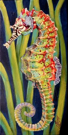 "& Over the Rainbow& Seahorse x 12 "" Acrylic on Gallery Wrapp. & Over the Rainbow& Seahorse x 12 "" Acrylic on Gallery Wrapp. & Over the Rainbow& Seahorse x 12 "" Acrylic on Gallery Wrapped Canvas By Texas Artist Jennifer Remy Renfrow Colorful Seahorse, Seahorse Art, Seahorses, Underwater Creatures, Ocean Creatures, Underwater Animals, Beautiful Sea Creatures, Animals Beautiful, Baby Animals Super Cute"