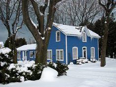 Blue house...