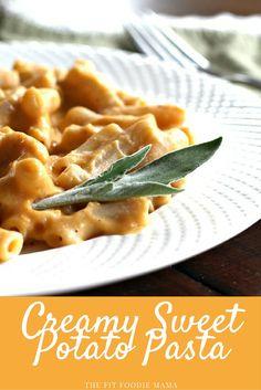 Creamy Sweet Potato Pasta {gluten free, vegan, sweet potato sauce, vegetarian, foodie friday, healthy dinner} via @fitfoodiemama