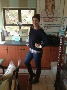 Checked shirt: Mr Price, Navy jersey: Trenery, Jeans: Woollies. Boots: Studio W.