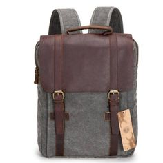 Size:Height:42CM(16.54); Width:30CM(11.81); Thickness:10CM(3.94)(Notice:1-2CM Mistake is Allowed)  Color:Blue/Khaki/Pink/Gray/Light Blue  Internal Structure:Zip Pocket/Cell Phone Pocket/Document Pocket  Material:Leather/Canvas  Style:College/Unisex/Retro  Capacity:Can Hold The A4 Paper And 14-inch Laptop  Fashion Element:Solid/Double Hasp/Square #school #backpack #bag
