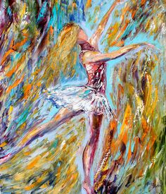 I want this!!! Original DANCER Painting Oil on Canvas Palette Knife Textured Abstract Contemporary Art Modern Figurative Series by Karen Tarlton.