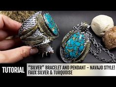 DIY Faux Silver Pendant with Larimar Gemstone. Polymer Clay jewelry making. VIDEO Tutorial! - YouTube