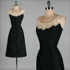 Vintage 1950s Dress  Black Linen  Ivory by millstreetvintage, $185.00