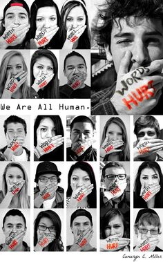 """We're continuing to highlight the great work by students at Carlsbad High School in their efforts to combat bullying. Here's another poster from their """"Words Hurt"""" campaign.    And be sure to read more about the student movement on our blog: www.niot.org/..."""