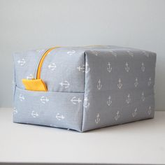 Boxy Toiletry Bag  Grey Anchor with Yellow by NicoleBlessDesign, $25.00