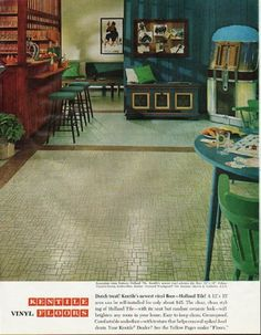 "1965 KENTILE FLOORS vintage magazine advertisement ""Dutch treat"" ~ Recreation room features Holland Tile, Kentile's newest vinyl asbestos tile. ... Interior: Marvin K. Culbreth ... Kentile Vinyl Floors ~"