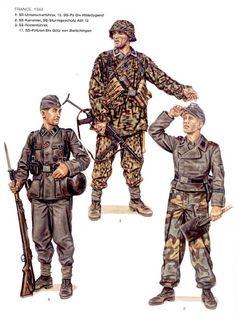 "Waffen SS - , Francia ,1944 - 1 Unteroffizier, 12à Waffen SS Panzerdivision ""Hitlerjugend"" - 2 SS kanonier, SS Sturmgeshuetz, Abt 12 - 3 SS Rottenfuerer, 17a Waffen SS Panzergrenadieren Division ""Goetz von Berlichingen"""