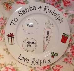 Santa Christmas Eve Mince Pie Plate - personalised .facebook.com/blossomlanedesigns & These cute personalised Christmas plates are a unique way for your ...