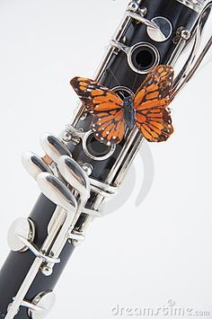 Clarinet with Butterfly on White