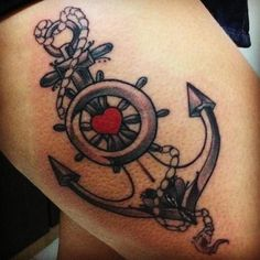 Helm and anchor tattoo