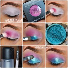 1) Start with a primed eyelid. She used Prep+Prime from MAC and High Brow by Benefit. 2-4) Apply a bright pink to your upper crease as a transitional color and make sure its very well blended. She,used Meow from @CandyCoatedUSA. 5-8) Apply a shimmery bright blue all over your lid until you meet the pink in your crease.  used Blue Sky by @CandyCoatedUSA applied wet with Fix+  by Mac and a small dense shadow brush.  @Michaela P Bright Eye Makeup, Gold Eye Makeup, Colorful Eye Makeup, Pink Makeup, My Beauty, Beauty Makeup, Makeup Tips, Makeup Tutorials, Eye Tutorial