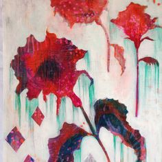 Abstract flowers original painting by melissa averinos (yummygoods on etsy)