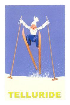 Child Skiing, Telluride, Colorado Poster