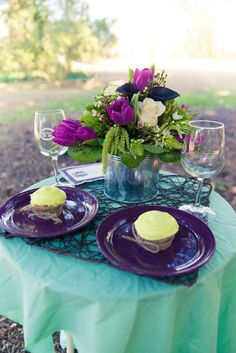 Rustic purple & teal centerpieces from a purple & teal, rustic elopement styled shoot from Truly TY Photography