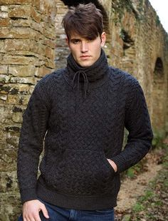 a4d3324143a Men s Cowl Neck Aran Sweater - Charcoal Gents Sweater