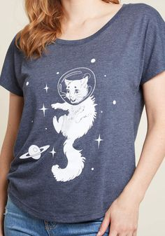 Somewhere Meow-t There Graphic Tee  sleeves ModCloth exclusive Cute Tops 03e7adab2