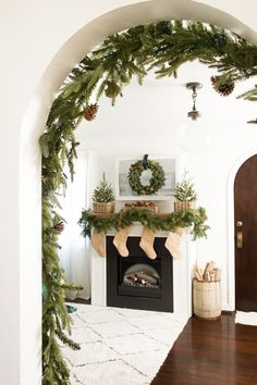 A Gingerbread Christmas Home Tour – Stacy Risenmay – Decorating Foyer Christmas Fireplace, Christmas Mantels, Christmas Home, White Christmas, Christmas Holidays, Xmas, Christmas Arch, Christmas Garlands, Christmas Bedding
