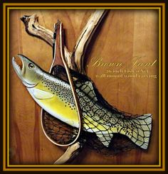 Fly Fishing net Brown / Rainbow trout wood carving by WOODNARTS, $175.00