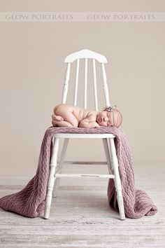 newborn with chair photo: I always thing of using upholstered chairs but this idea is simplistic and adorable!