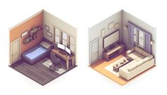 The two broadcasting rooms from the 2014 Twitch recap. Bedroom (L) / Living Room (R)