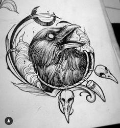 Tattoo Sketches, Tattoo Drawings, Body Art Tattoos, Small Tattoos, Sleeve Tattoos, Crow Tattoo Design, Tattoo Designs, Corvo Tattoo, Rabe Tattoo