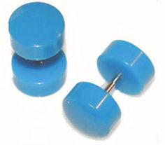 Pair of Turquoise Acrylic Fake Cheater Plugs 00G