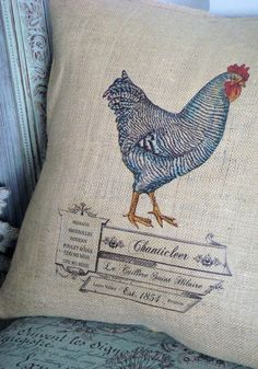French country rooster burlap pillow
