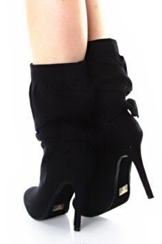 Black Faux Suede Bow Back Ruched Heel Boots Heels Boots heels boots |2013 Fashion High Heels|