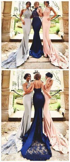 Lace Mermaid Bridesmaid Dresses, Sexy Long Bridesmaid Dresses, Custom Bridesmaid…