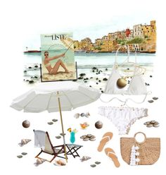 """Meet me under the white umbrella"" by sherrysrosecottage-1 ❤ liked on Polyvore featuring Hollister Co., Heidi Klein, JADE TRIBE, Charlotte Russe, TIKI, white, beach, bikini and swimwear"