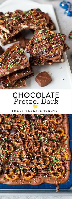 Chocolate Pretzel Bark Ingredients: Three bags Silky Smooth DOVE PROMISES Milk Chocolate (about 96 pieces) About of a bag of mini pretzels (about 50 pieces) 15 piecesSilky Smooth DOVE PROMISES Dark Chocolate (about bag) Your favorite sprinkles Candy Recipes, Sweet Recipes, Holiday Recipes, Dessert Recipes, Just Desserts, Delicious Desserts, Yummy Food, Holiday Baking, Christmas Baking