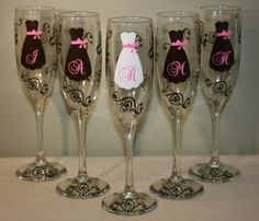 Personalized Set of 6 Champagne Flutes, Bride and Bridesmaid Wedding Glasses Wedding Events, Our Wedding, Wedding Gifts, Dream Wedding, Weddings, Wedding Stuff, Fall Wedding, Wedding Photos, Wedding Album
