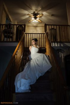 Bride on Stairs at Home  | Old Mill Wedding | Raph Nogal Photography | Toronto Wedding Photographer
