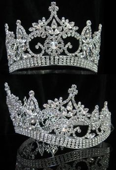 """CONTINENTAL PREMIUM SILVER CROWN TIARA Designed very similar to the larger """"CONTINENTAL STYLE CROWN """", this smaller version is ideal for junior pageants, sweet"""