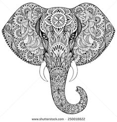 Beautiful hand-painted elephant with ornament. Tattoo elephant with patterns and ornaments - stock photo