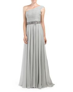 One Shoulder Lace Underlay Gown