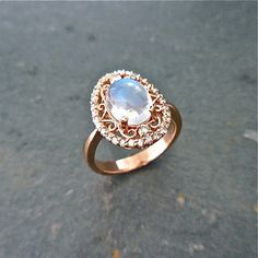 Moonstone Engagement Ring Oval cabochon June by JewelLUXE on Etsy