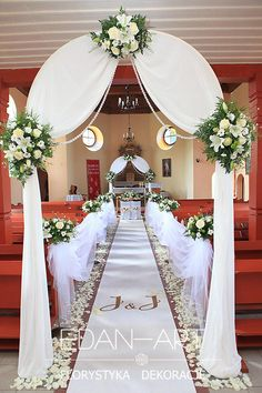 Decorations of churches Baranowo, Warmian-Masurian Voivodeship Edan-Art - Dekoracje Ślubu - Edan-Art - Wedding Walkway, Wedding Church Aisle, Wedding Pews, Romantic Wedding Decor, Diy Wedding Backdrop, Church Wedding Decorations, Wedding Centerpieces, Wedding Bouquets, Wedding Mandap
