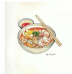 Curry Laksa (Curry Mee) 咖喱叻沙 is a spicy noodle soup with a variety of toppings. Such as: prawns, chicken, tofu puffs (fried bean curd tofu). Hand drawn watercolor painting by Sg Ong. Pinterest Instagram, Watercolor Food, Watercolor Painting, Cute Food Art, Food Sketch, Food Painting, Food Drawing, Salad Drawing, Kitchen Art