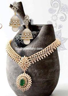 Diamond Necklace and Jhumkas Set