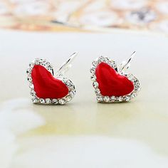 Price:19 USD Color:purple/red/sky blue/pink Hansenne Style Sweet Cute Heart Rhinestone Earrings