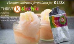 Thrive K SLUSHIE:  4 cups of ice  1 cup organic peach orange juice  1/2 pack of THRIVE K  Blend until it becomes fluffy like snow   Do you know what's in your kids vitamins?  You might be shocked!!!!.... Do you know if your kids are actually absorbing their vitamins or are they flushing it away? Thank you #LeVel for taking care of our nutrition as well as our kiddos nutrition!!!
